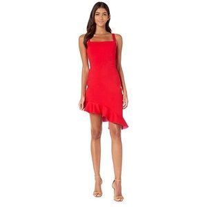 Susana Monaco Wide Strap Two Tone Ruffle Dress